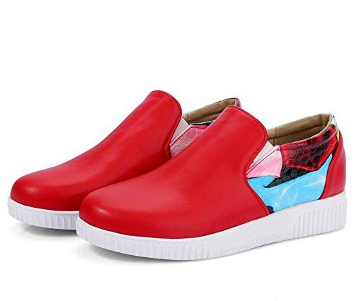 Easemax, Donna, Alla Moda, Cuciture Stampate, Punta Rotonda, Slip On Sneakers Con Tacco Basso Rosse