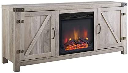 Pemberly Row 58 Fireplace TV Stand in Gray Wash