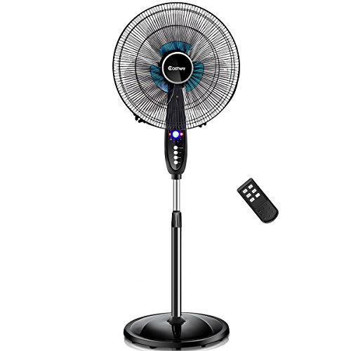 COSTWAY Pedestal Fan, 16-Inch Adjustable Height Fan, 3-Speed Digital Control, Oscillating Pedestal Fan w/Timer, LCD Display, Double Blades, Remote Control (16-Inch)