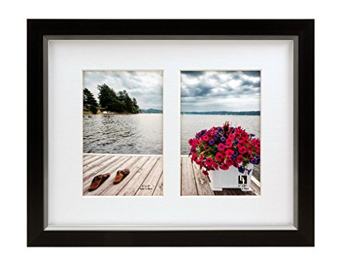 BorderTrends Legacy 8.5x11-Inch Double 4x6 Opening Collage Photo Frame, Black with White -
