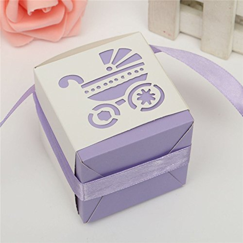 Zorpia® New 50Pcs Party Gift Laser Cut Baby Shower Candy Ribbon Boxes Carriage Shower Favor Bomboniere Wedding Anniversary ZRA0168905 (Purple) (Baby Shower Favors Purple)