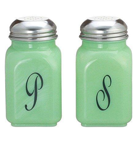 Square Jade Green Glass Salt & Pepper Shakers Script S & P