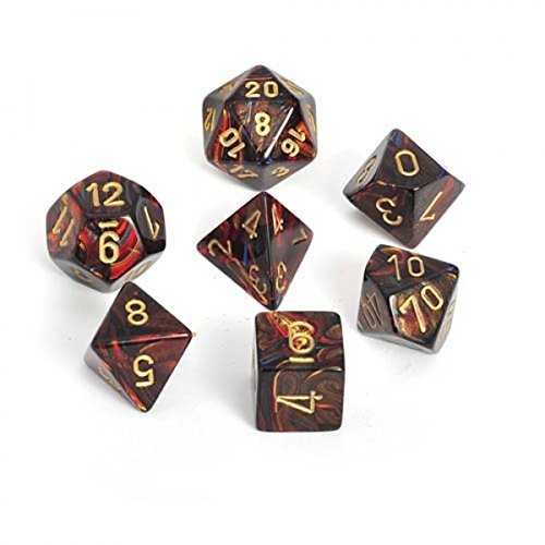 Chessex Dice: Polyhedral 7-Die Scarab Dice Set - Blue Blood w/Gold (Blood Set)