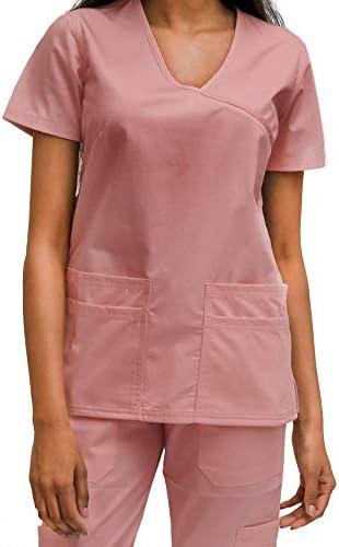 B Health Womens Medical Nursing Scrub Top Apparel - Classic Fit, 6 Pockets, Easy Care, Minimal Wrinkling, Cotton Blend
