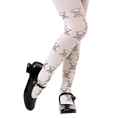 White Mid-rise Pirate Skulls Halloween Children's Cosplay Costume Tights (Large)