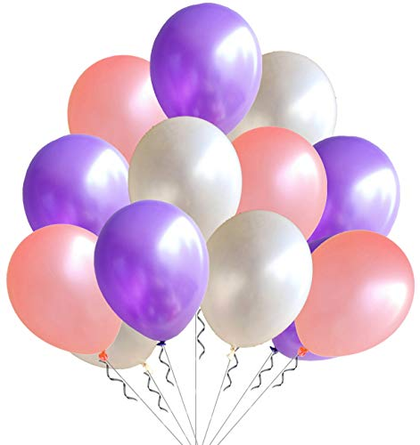 Elecrainbow 100 Pack 12 Inch 3.2 g/pc Thicken Round Pearlescent Latex Party Balloons for Party Decorations, White/Light Purple/Flesh Pink Assorted]()