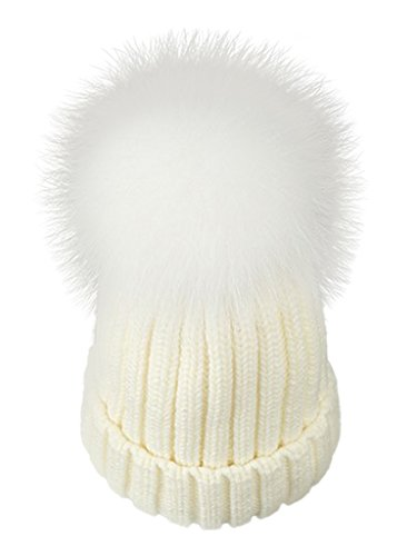 LITHER Womens Girls Winter Fur Hat Real Large Raccoon Fur Pom Pom Beanie Winter Hats(White)