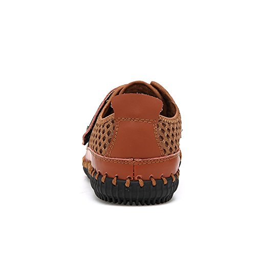 Water Leather Sneaker Summer Casual Men's Breathable Footwear Light Walking Mesh Drying Quick GOMNEAR On Flats Athletic Brown Slip Beach Shoes Ax5qWp