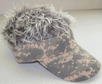 Flair Hair Hat (Flair Hair Men's Velcro Hat Cap Visor (Camo w/ Grey Hair))