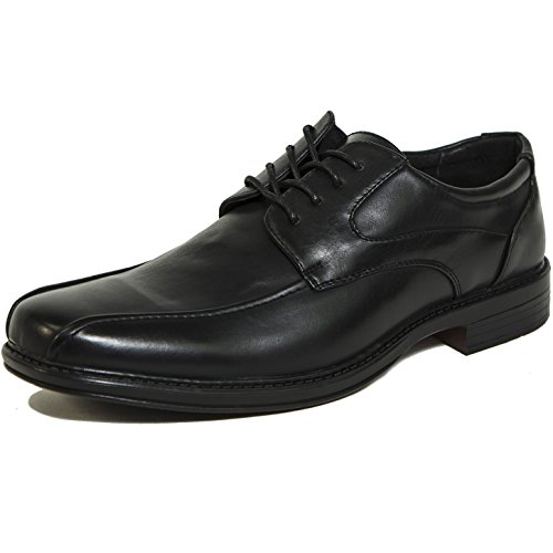alpine swiss S701 Men's Dress Shoes Leather Lined Lace up Oxfords Baseball Stitched, Black, (Black Stitched Leather)