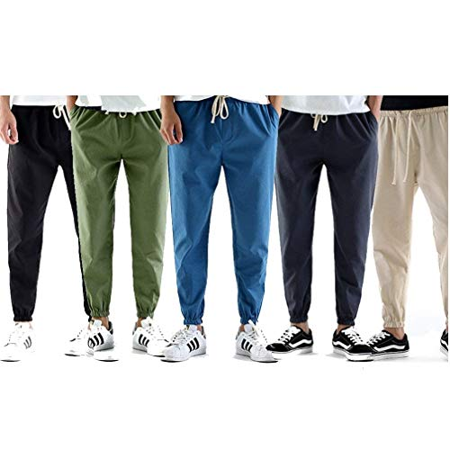 Leggeri Con Traspirante Lino Coulisse Uomo Da Unita Estivi Colour Colori 5 c5 4 Leggero Tinta In Pantaloni Casual A 3 qxzPc0O