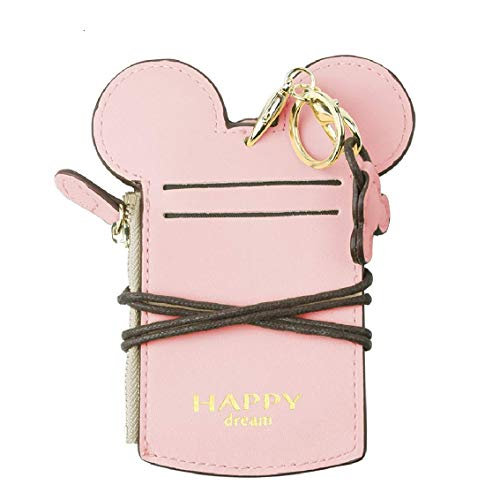 COCO LEE Chic Cute Travel PU Leather Student ID Card Holder Lanyard Neck Pouch Bag With Coin Wallet Purse for School Students Women Kids Teens Girls (Pink)