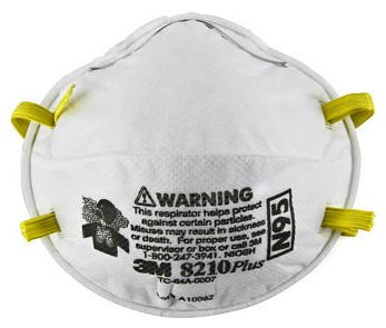 8 Pack 3M 8210 ''Plus'' N95 Dust Mask, Particulate Respirators - 20 per Box by 3M
