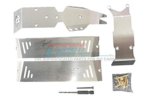 (GPM Traxxas E-Revo 2.0 VXL Brushless (86086-4) Upgrade Parts Stainless Steel Skid Plates for Front, Center, Rear Chassis - 24Pc Set)