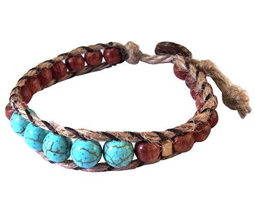Thai Asian Fashion Handmade Bracelet Hemp String Brass Wood Beads Turquoise Brown Gold Wristband