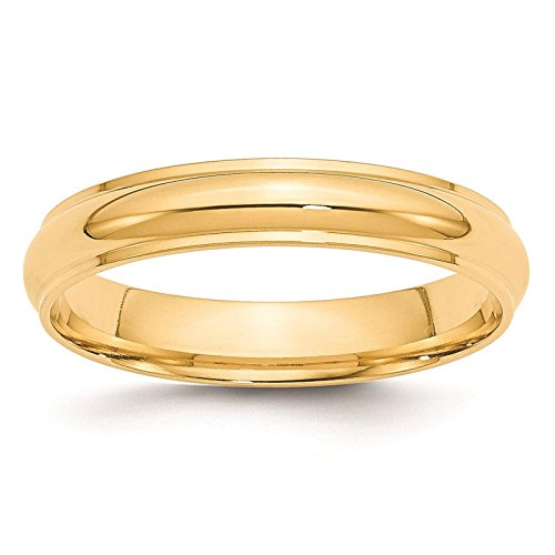 (14k Yellow Gold 4mm Half Round with Edge Wedding Ring Band Size 6.5)