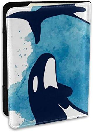 シャチ柄 鯱柄 キラークジラ柄 しゃち柄 魚柄 動物柄 アニマル柄 パスポートケース メンズ 男女兼用 パスポートカバー パスポート用カバー パスポートバッグ ポーチ 6.5インチ高級PUレザー 三つのカードケース 家族 国内海外旅行用品 多機能