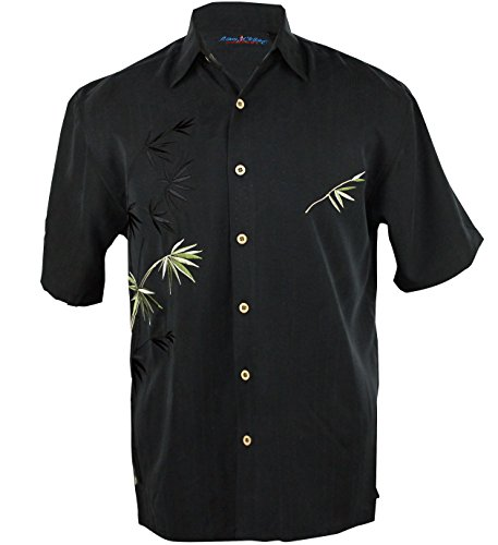 Maui Clothing Men's Embroidered Bamboo Aloha - Sale Friday Costa Black