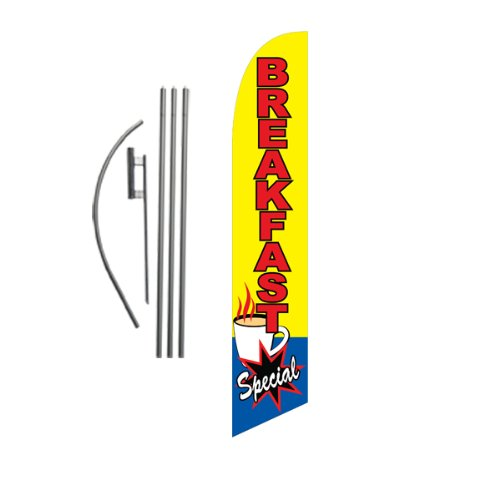 Breakfast Kit (Breakfast Special 15ft Feather Banner Swooper Flag Kit - INCLUDES 15FT POLE KIT w/ GROUND SPIKE)