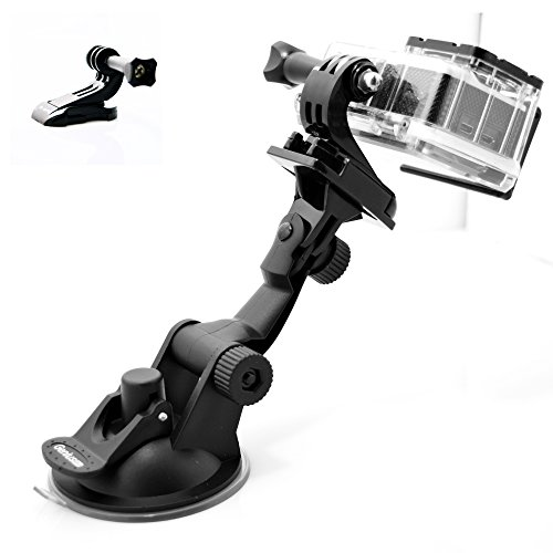 GeniusPro Suction Cup Mount GoPro with Adapter J-Hook Vertical Surface Buckle, for Hero 4/3+/3/2/1/SJ4000 (3