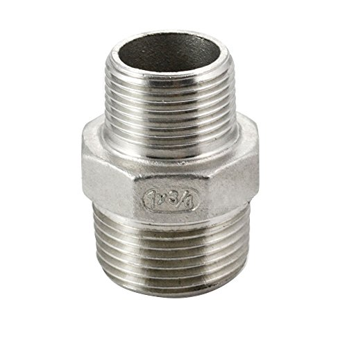 """SuperWhole 1""""x3/4"""" Male Hex Nipple Threaded Reducer Pipe Fitting Stainless Steel 304 NPT"""