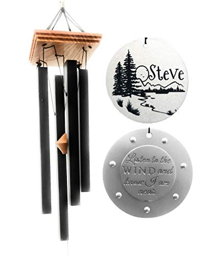 Craftsman Chime - Craftsman Memorial CUSTOM GIFT Wind chime In Sympathy loss Silver and Black Chime Rush Shipping for Funeral Loss in Memory of Loved One Listen to the Wind Memorial Garden Remembering a loved one