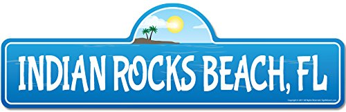 SignMission Indian Rocks, FL Florida Beach Street Sign | Indoor/Outdoor | Surfer, Ocean Lover, Décor for Beach House, Garages, Living Rooms, Bedroom Personalized Gift