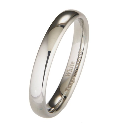 MJ Metals Jewelry Custom Engraving 4MM White Tungsten Carbide Polished Classic Wedding Ring Size 8.5 MJ Metals...