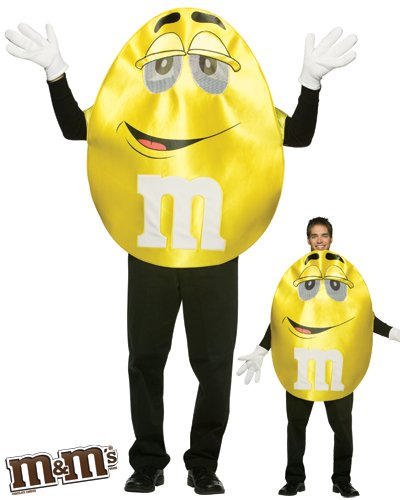 Food Characters Halloween Costumes (Rasta Imposta M&M's Character Deluxe, Yellow, One Size)