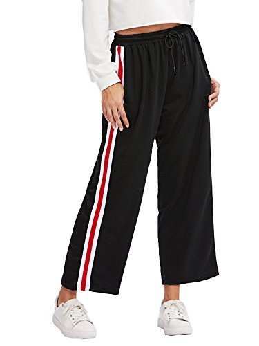 SweatyRocks Women's Side Striped High Waist Cropped Pants Velvet Wide Leg Pants Black M (Cropped Striped Pants)