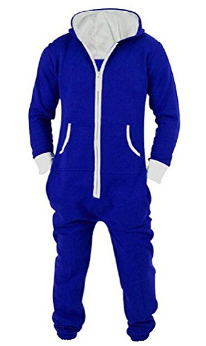 Nicetage Ladies Aztec Print Hooded Zip Up Onesie Jumpsuit Plus Sizes Blue M ()