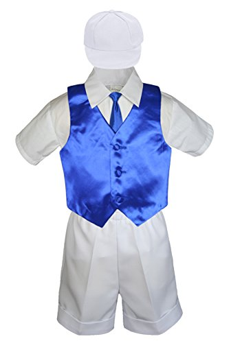 6pc Baby Little Boys White Bow Tie Shorts Extra Vest Necktie Set S-4T (3T, Royal Blue)