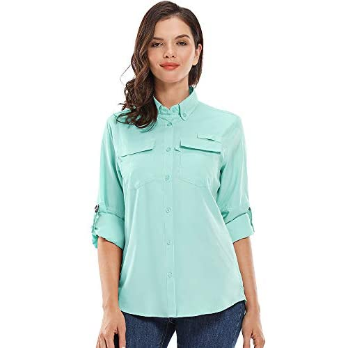 Womens Quick Dry UPF 40 Sun UV Protection Shirts Long Sleeve Hiking Fishing Sailing Blouse