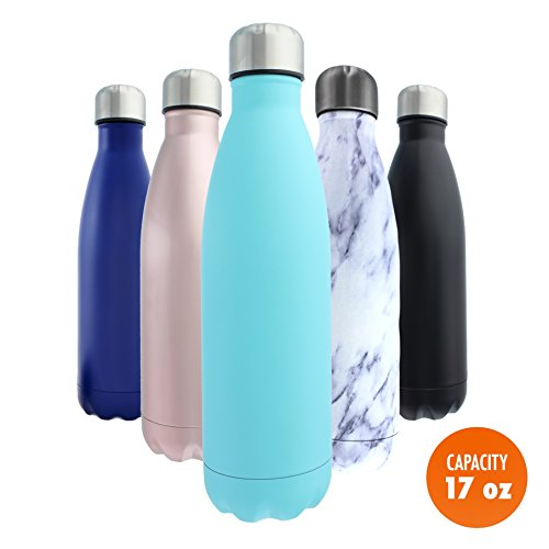 Stainless Steel Water Bottle + Bonus Cleaning Brush! Best for Cold or Hot Drinks. Vacuum Seal with Metal Insulated Double Walled Flask, BPA Free Warm for 12 Hours Cold for 24 (Turquoise Tango, 17Oz) (Hot Cold Water Stickers compare prices)