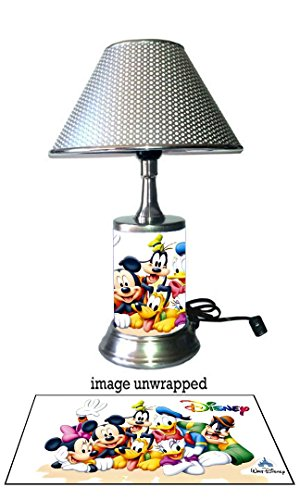 Disney Characters Lamp with chrome shade, Mickey Mouse, Minnie Mouse and (Disney Character Image)