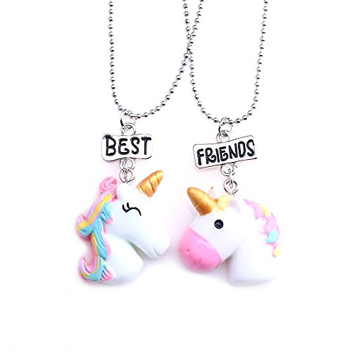 Best Friends Forever Unicorn Rainbow Friendship Necklaces Set for Kid Girls