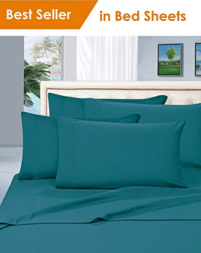 MattRest Luxury Silky-Soft 1800 Series Premium Collection - Wrinkle-Free 4-Piece Bed Sheet Set, Deep Pocket up to 16 inch, King Turquoise ()