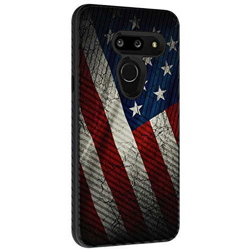 TurtleArmor | Compatible with LG G8 Case | LG G8 ThinQ Case | G820 | Slim Fitted Dual Layer Hard Armor Hybrid Engraved Grooves Shell Case - American Flag (Lg 3g Phone Cases With Port Cover)