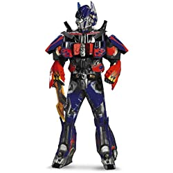 Disguise Men's Hasbro Transformers Age Of Extinction Movie Optimus Prime Theatrical with Vacuform Plus 3D Costume, Blue/Red, X-Large/42-46