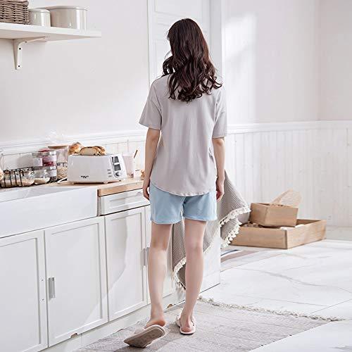 Cortos Mujeres Baujuxing Dormir Servicio Domicilio Manga Verano Corta A Exterior Traje M Ropa 100 Algodón Xl Suelta Pijamas De Pantalones Camisón qY1p41X