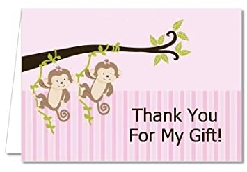 Amazon Com Twin Monkey Girls Baby Shower Thank You Cards Health