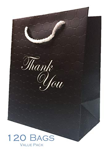 Bulk Gift Bags with Handles Black Medium 120 Bags Thank You 250 g Heavy Duty Matte Paper Shopping Bags 8 x 5 x 10 Reusable Grocery Premium Quality Modern Embossed Boutique Paper Merchandise Bags