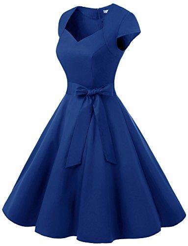 Dressystar Vestido De Estilo Vintage Corto Con Manga Corta Con Cinturón Zafiro Azul