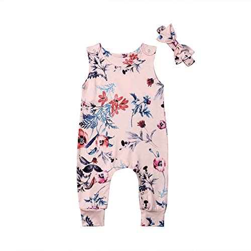 Infant Baby Girl Floral Jumpsuit One Piece Summer Sleeveless Flower Print Romper+Headbands Outfits Clothes (Pink, 6-12 Months) ()