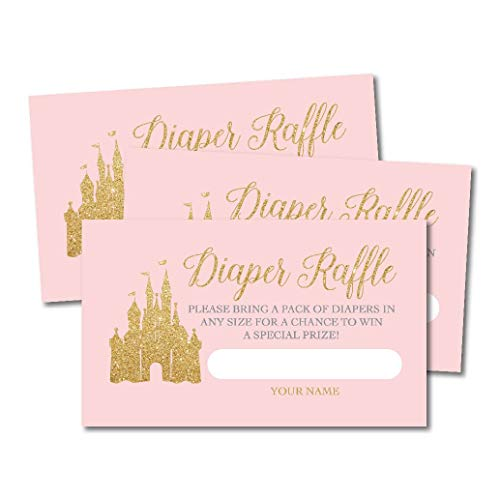 (25 Princess Diaper Raffle Ticket Lottery Insert Cards for Girl Baby Shower Invitations, Pink Castle Supplies and Games for Gender Party, Bring a Pack of Diapers to Win Favors, Gifts and Prizes)