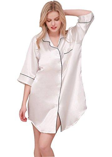 SexyTown Womens Long Sleeve Sleepshirt Button-Front Nightshirts Pajama Top (Large, - Silk Front Dress Button