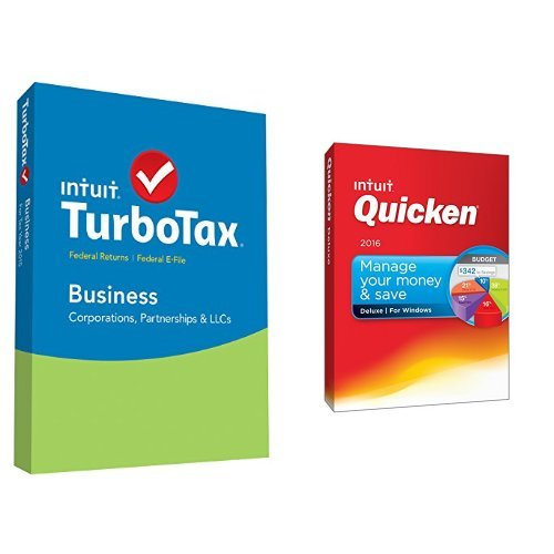 TurboTax Business 2015 Federal + Fed Efile Tax Preparation Software PC Disc with Quicken Deluxe 2016 PC Disc