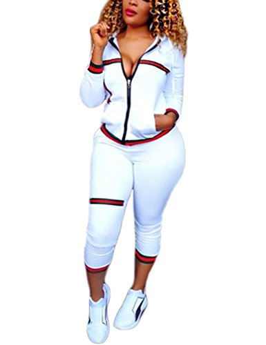 Halfword Womens Two Piece Outfits Hooded Jacket Suit Pants Set Sweatsuits White L