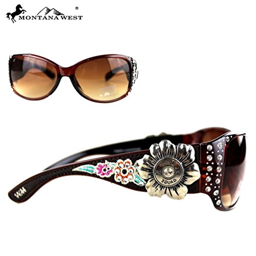 (B43-3)-Montana West Embroidery Flower Concho Collection Sunglasses -SGS-3608 (Coffee, - Collection Concho