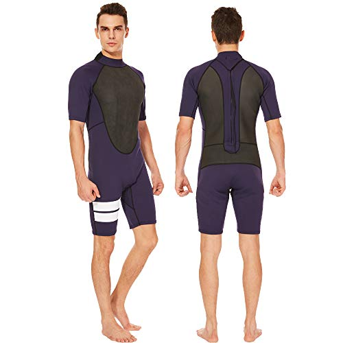 (Flexel Adult's Shorty Men Wetsuits 3mm Neoprene Back Zip Diving Suits Cold Water and Outdoors Sports for Swimming Surfing Snorkeling Canoeing (2mm Dark Blue, Large))